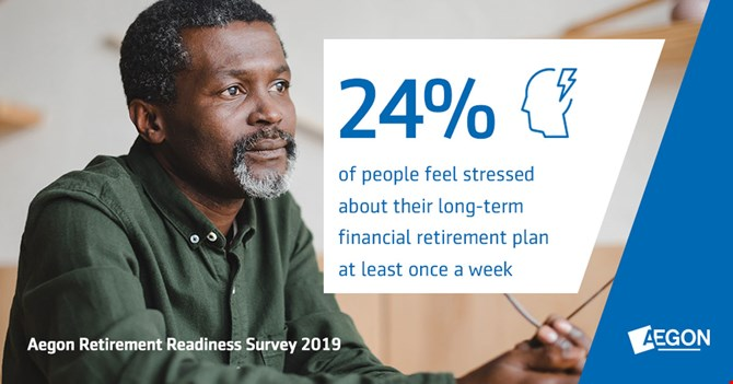 24 percent feel stressed about their long-term financial retirement plan at least once a week