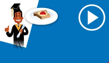 Cartoon character of student and a sandwich
