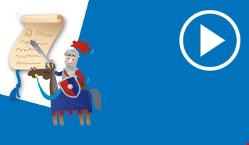 Cartoon knight with a letter