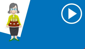 Cartoon mother and birthday card