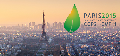 Paris skyline and Paris Climate Summit Logo