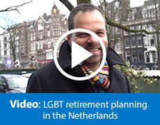Video still of Peter, a Dutch gay man talking about retirement