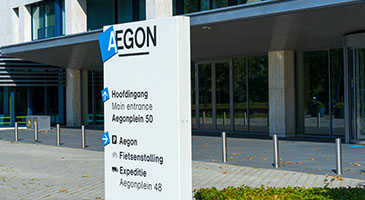 The entrance to Aegon's headquarters in The Hague