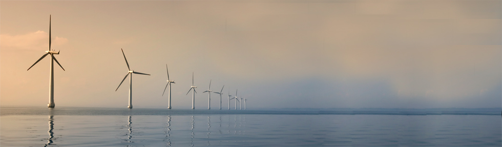 Artists impression wind farm in north sea