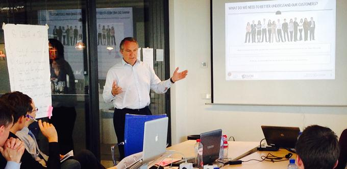 Alex Wynaendts, Aegon CEO presents during the inital analytics boot camp
