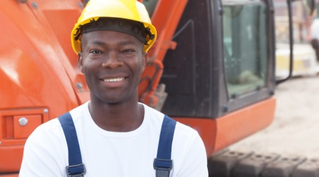 Black man in builders clothers