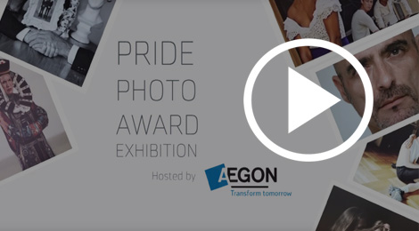 Screen shot with caption Pride Photo Award Exhibition at Aegon